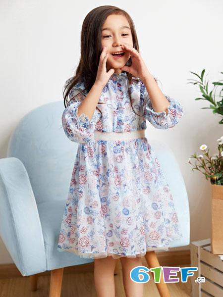 poipoilu(泡泡噜)童装品牌2019春季荷叶袖雪纺印花吊带连衣裙显瘦碎花裙子