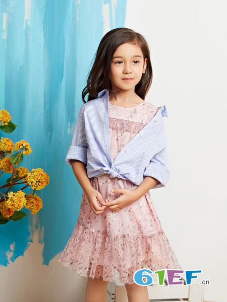 poipoilu(泡泡噜)童装品牌2019春季长袖连衣裙修身韩版时尚两件套套装裙