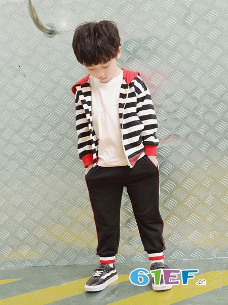 巴迪小虎BaDi Tiger童装品牌2019春季上衣条纹连帽百搭韩版开衫