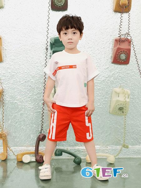 巴迪小虎BaDi Tiger童装品牌2019春季新款时髦套装时尚中大童儿童装洋气阔腿裤两件套潮衣