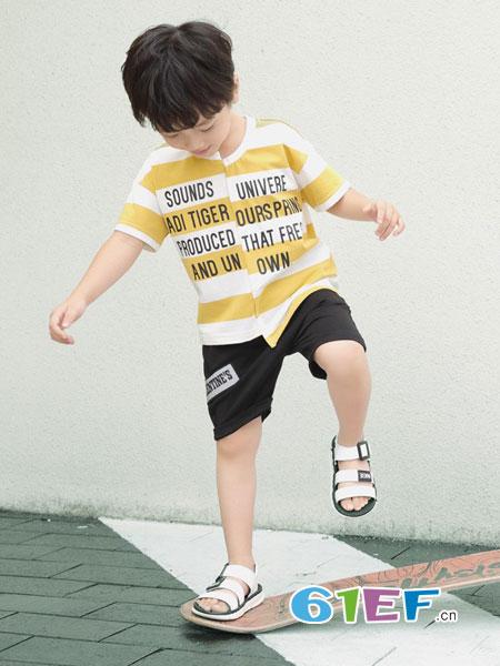 巴迪小虎BaDi Tiger童装品牌2019春季韩版套头针织衫儿童条纹宽松卫衣