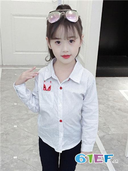 吉他猪JITAZHU童装品牌2019春季长袖洋气条纹衬衣上衣服韩版潮
