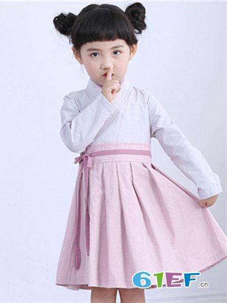 吉他猪JITAZHU童装品牌2019春季儿童古装女宝宝民族风古典连衣裙