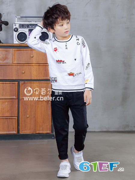 贝蕾尔童装品牌2019春季中大童套头上衣儿童纯棉休闲体恤
