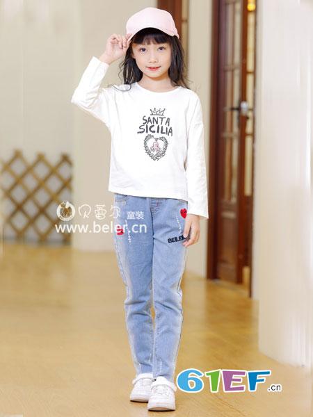 贝蕾尔童装品牌2019春季字母印花圆领中长款套头显瘦弹性打底t恤