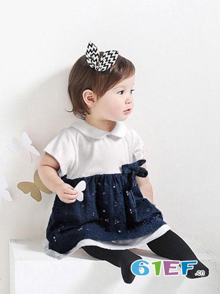 叮当槌童装品牌2019春季韩版女童连衣裙纯棉儿童2件套洋气可爱