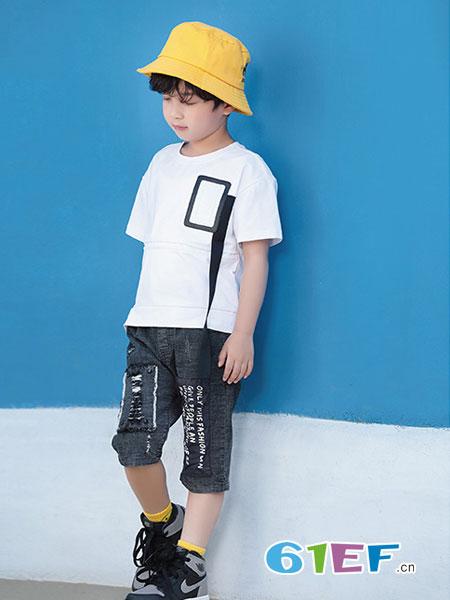 幼幼&娜娜童装品牌2019春季拼接纯棉透气上衣男童修身洋气短袖T恤