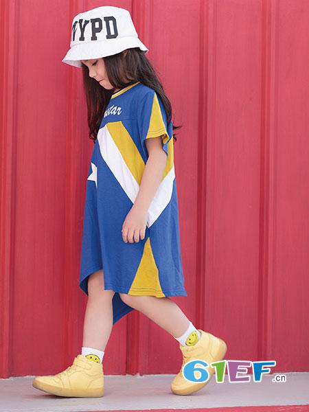 幼幼&娜娜童装品牌2019春季新款时尚拼色纯棉圆领中长款连衣裙