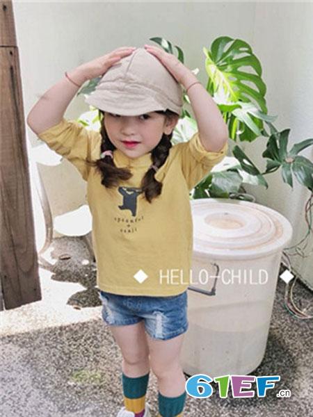 说与童装品牌2019春季黄色短袖T恤