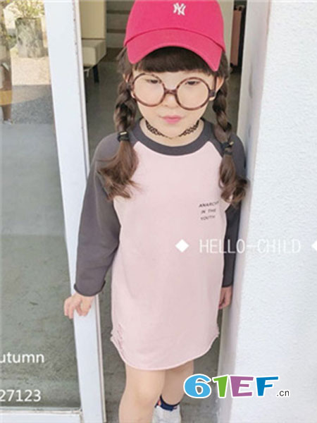 说与童装品牌2019春季粉色拼接T恤