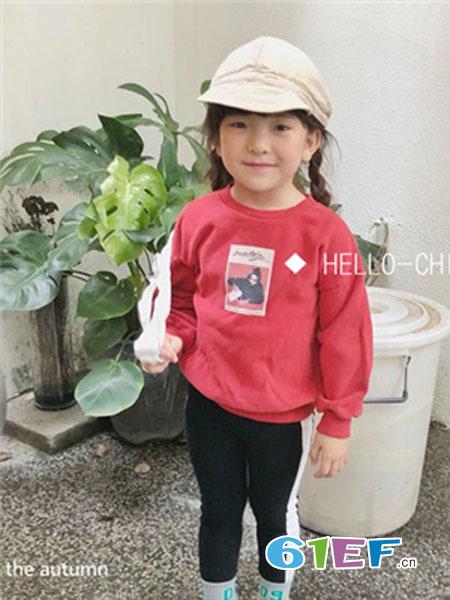 说与童装品牌2019春季红色休闲卫衣