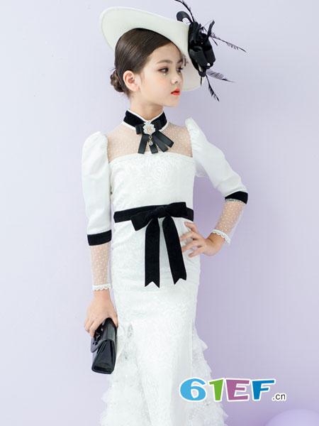 旗旗衣语童装品牌2019春季小香风模特白色公主裙套装