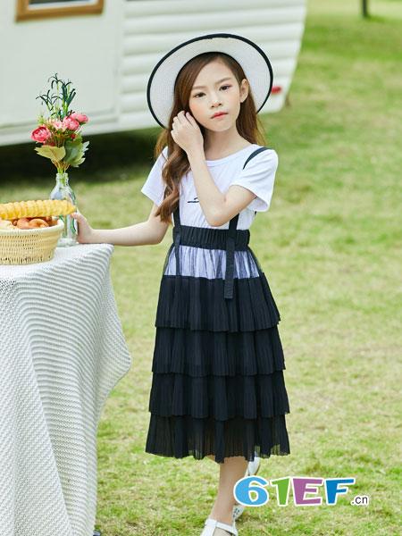 叽叽哇哇童装品牌2019春季新款短袖T恤吊带裙子韩版中大童套装