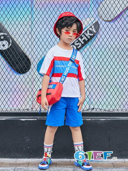 叽叽哇哇童装品牌2019春季纯色简约拼接T恤短袖上衣潮春季