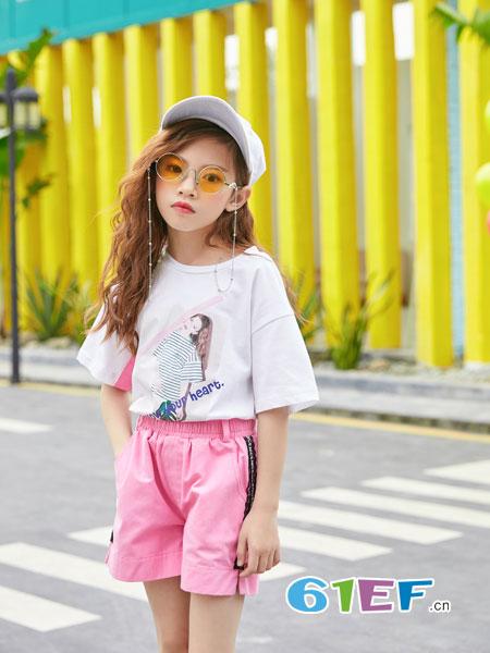 叽叽哇哇童装品牌2019春季纯色简约拼接T恤短袖上衣潮
