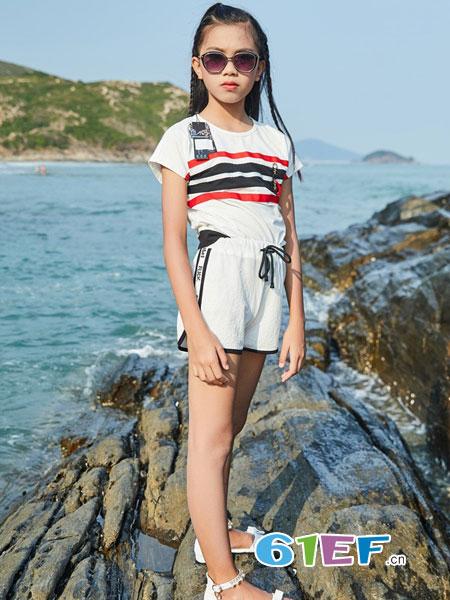 拉斐贝贝童装品牌2019春季时尚条纹纯棉短袖t恤
