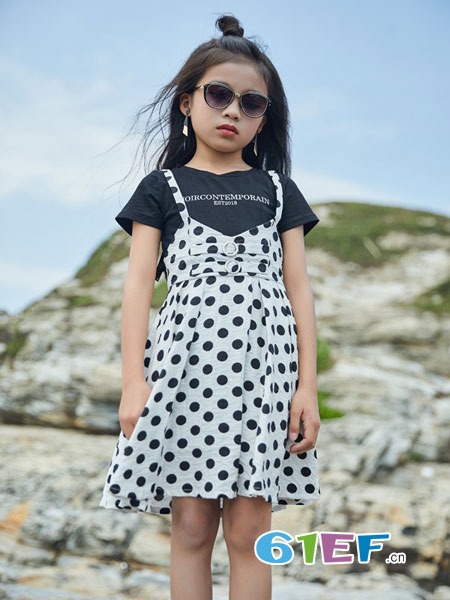 拉斐贝贝童装品牌2019春季纯棉短袖吊带裙两件套