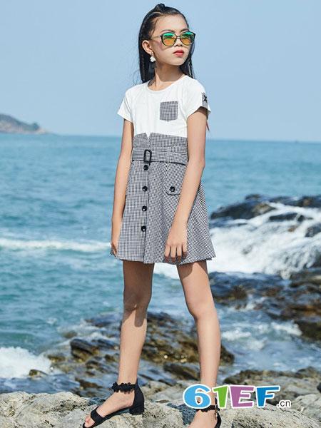 拉斐贝贝童装品牌2019春季新款白色T恤拼接高腰修身短袖连衣裙