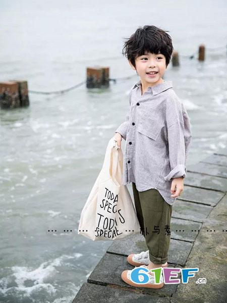 朴与素童装品牌2019春季日系宽松全棉透气原创设计男童衬衫
