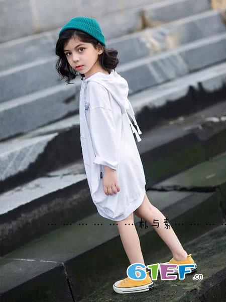 朴与素童装品牌2019春季简约后背刺绣字母长袖衬衫