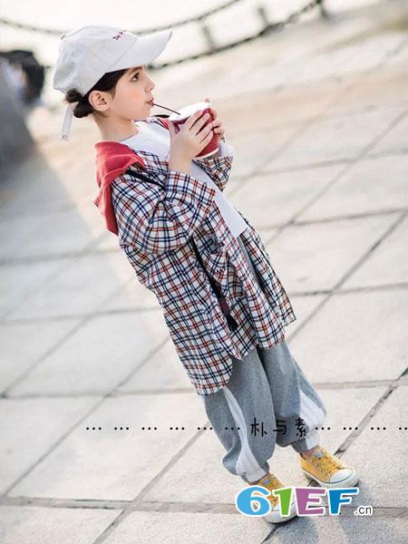 朴与素童装品牌2019春季新款韩版中大童撞色格纹长款