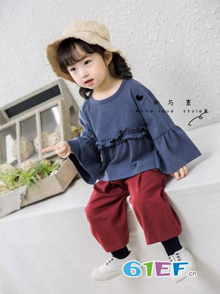 朴与素童装品牌2019春季淑女日系纯棉T恤7分袖