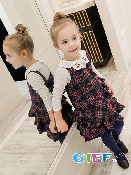 字母贝贝童装品牌2019秋冬韩版休闲时尚娃娃领长袖格子两件套公主裙