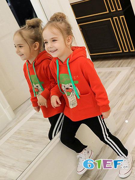 字母贝贝童装品牌2019秋冬秋长袖两件套卫衣韩版