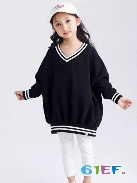 菲丁波特童装品牌2019春季简约时尚V领休闲打底