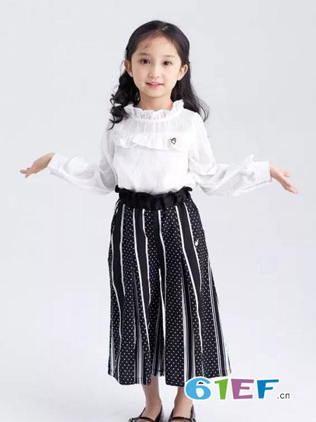 菲丁波特童装品牌2019春季新款蕾丝v领上衣条纹波点阔腿裤两件套
