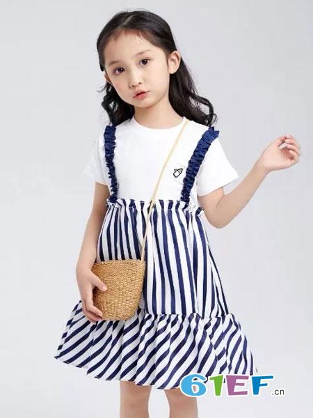 菲丁波特童装品牌2019春季韩版格子连衣裙中童两件套复古时尚