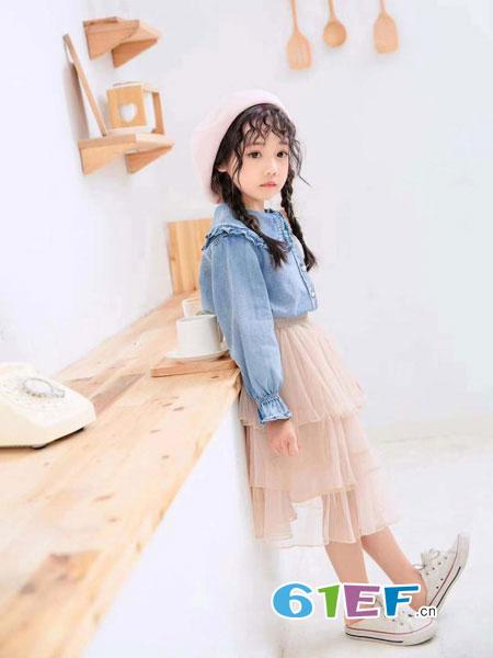淘淘鹿童装品牌2019秋冬韩版时髦纱裙两件套潮衣