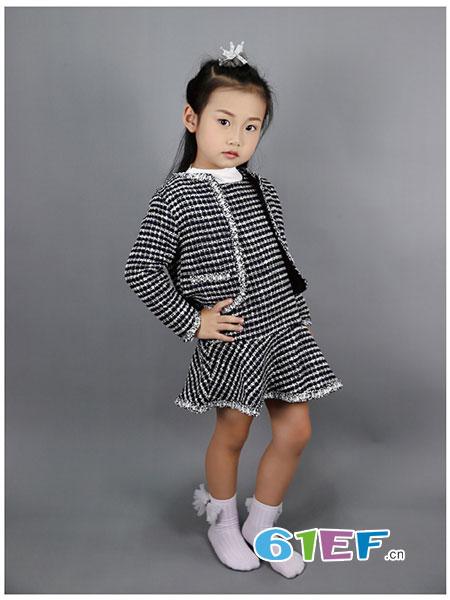 SSPY童装品牌2019春夏时尚洋气复古金丝格子套装