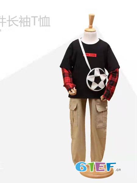 伊顿风尚童装品牌2019春季假两件上衣打底衫潮