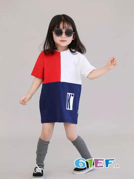 KIDO童装品牌2019春夏宽松显瘦系扣透气圆领度假衬衫裙