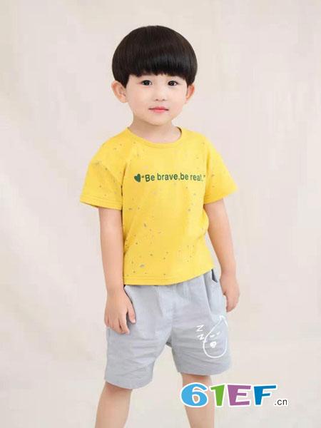 蝌蚪童品 - KIDO童装品牌2019春夏复古字母印花纯棉短袖t恤