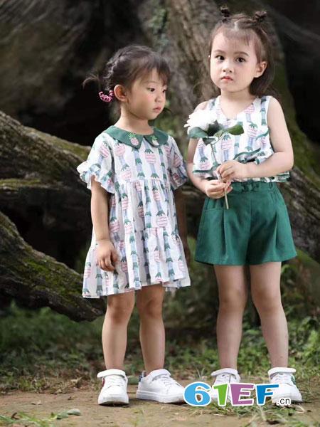 SCIACCAmini夏卡豆丁童装品牌2019春季时尚雪纺短袖短裤两件套装