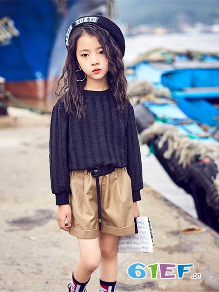 宠来宠趣童装品牌2019春夏慵懒风宽松百搭纯色套头圆领中长款毛衣