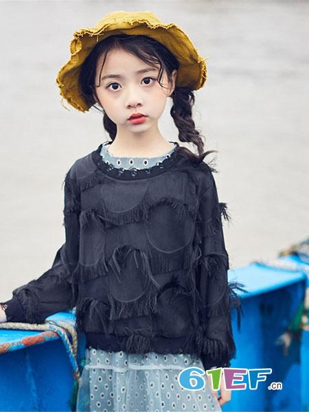 宠来宠趣童装品牌2019春夏新款时尚花边公主纯棉弹力长袖上衣