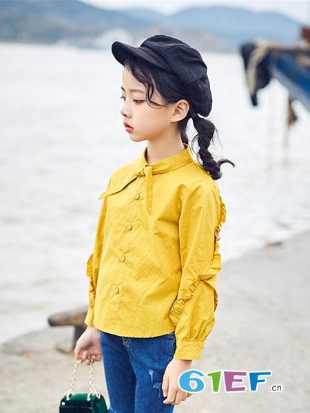 宠来宠趣童装品牌2019春夏韩版抓绒纯色木耳边长袖套