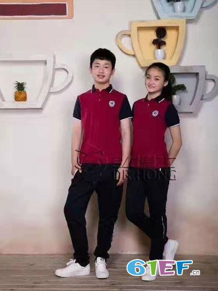 弘博士童装品牌2019春夏务休闲百搭两色拼色衬衫领短袖T恤衫