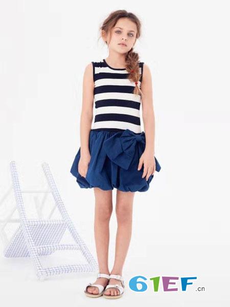 可米芽童装品牌2019春夏修身显瘦条纹纯棉针织无袖衣背心套装