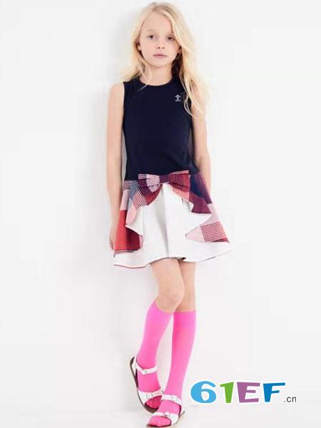 可米芽童装品牌2019春夏款韩版气质女背心连衣裙格子T恤短袖