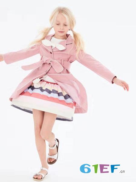 可米芽童装品牌2019春夏韩版大翻领宽松中长款毛呢外套女