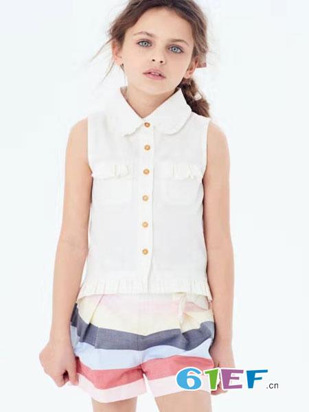 可米芽童装品牌2019春夏无袖透视衬衫打底衫衬衣上衣