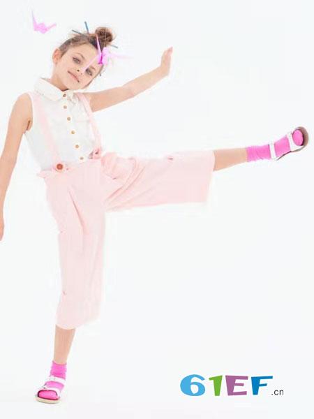 可米芽童装品牌2019春夏韩版无袖透视衬衫可爱吊带连体裤子