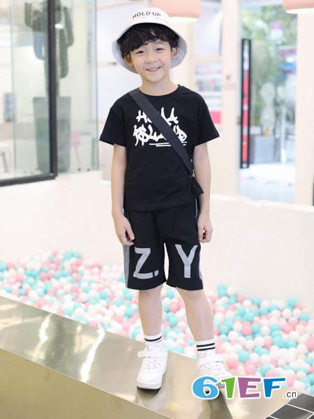 欧米源童装品牌2019春夏艺术T恤短袖运动T恤套装