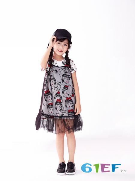 欧米源童装品牌2019春夏网纱满印连衣裙中韩版洋气时尚