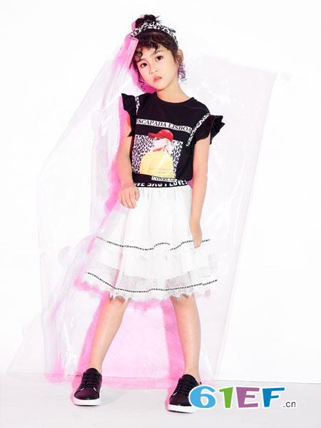 欧米源童装品牌2019春夏棉质短袖豹纹T恤韩版时尚百搭个性设计