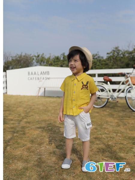 欧米源童装品牌2019春夏翻领短袖打底衫半袖体恤卡通潮